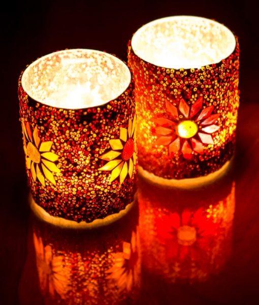 Waxinehoud mozaiek oranje-rood beads groot