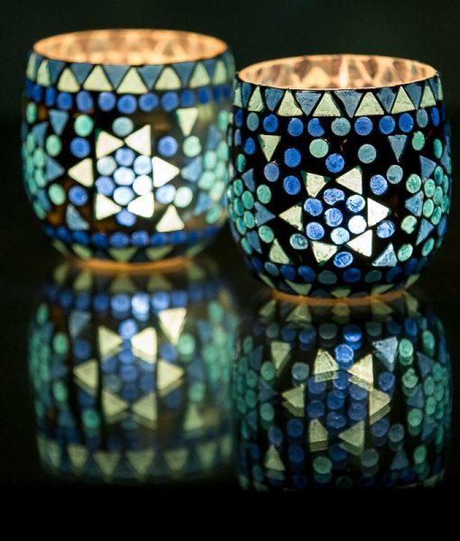 Waxinehouder mozaiek blauw
