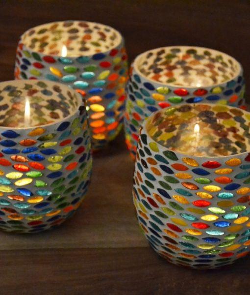 Waxinehouder mozaiek multicolor
