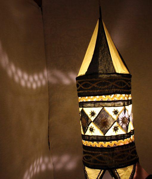indiase hanglamp stof geel gomsa webshop