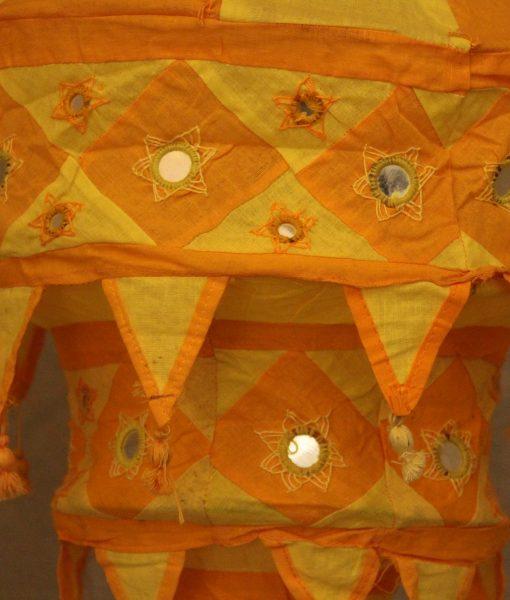 indiase hanglamp stof groot geel gomsa webshop